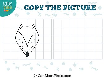 Copy picture vector illustration. Educational game for preschool kids. Cartoon outline fox head for drawing