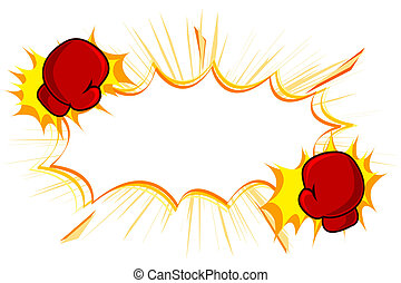 illustration of copy space with kick boxing gloves on white background