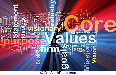 Background concept wordcloud illustration of business core values glowing light