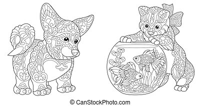 Corgi Dog and Kitten