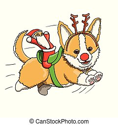Corgi Puppy Reindeer With Santa Toy, Smiling and Running at Full Speed. Cartoon Character Illustration