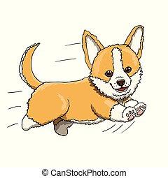 Corgi Puppy Running at Full Speed. Cartoon Character Illustration