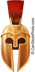 Illustration of a bronze Corinthian or Spartan helmet like those used in ancient Greece or Rome