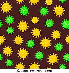 Coronavirus Seamless Pattern on Dark Background. Vector