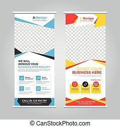 Corporate business roll-up banner stand template