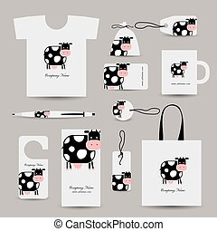 Corporate business style design, funny cow. Vector illustration