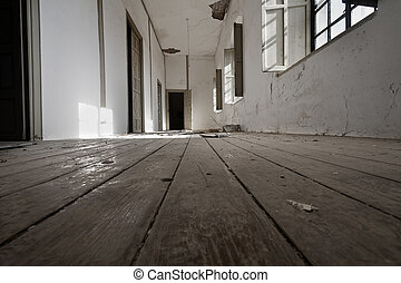 a long hallway of an old abandoned house