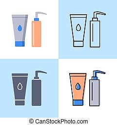 Cosmetic bottles icon set in flat and line styles