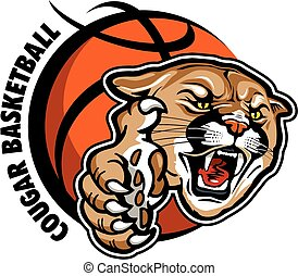cougar basketball team design with mascot head and large claw