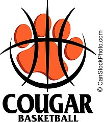 cougar basketball team design with paw print inside large basketball