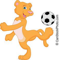 cougar cartoon with soccer ball