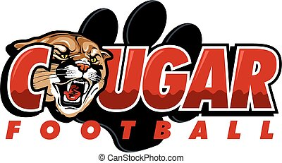 cougar football design with cougar head and large paw print