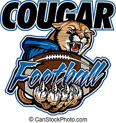 cougar football team design with mascot and ball for school, college or league