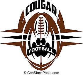cougar football team design with paw print inside ball for school, college or league