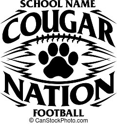 tribal cougar nation football team design with paw print for school, college or league