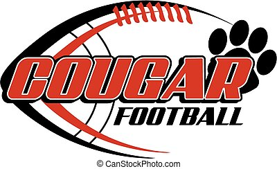 cougar football with paw print and ball in the background