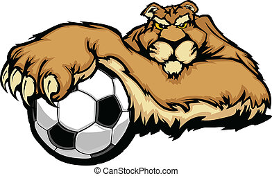Graphic Mascot Vector Image of a Cougar with Paws on a Soccer Ball