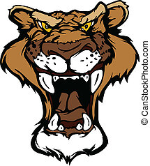 Cougar Panther Mascot Head Vector C