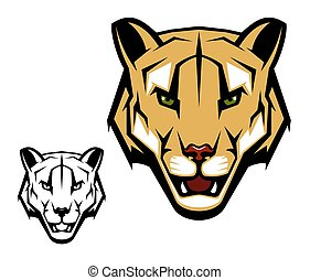 Cougar puma or mountain lion animal head mascot