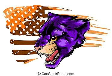 Cougar puma vector mascot with mountain lion head.