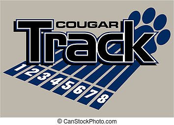 cougar track and field team design with large paw print and track lanes