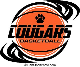 cougars basketball team design with ball and paw print for school, college or league