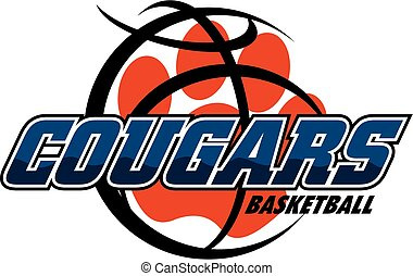 cougars basketball team design with large paw print inside a ball