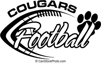 cougars football team design with football laces for school, college or league