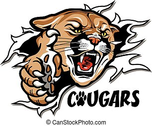 cougars mascot ripping through the background for school, college or league