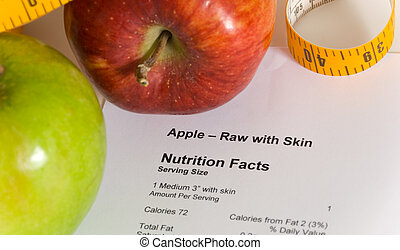 Nutrition facts and apples with a tape measure, items for dieting or healthy living