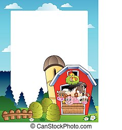 Country frame with red barn 3 - vector illustration.