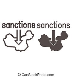 Country map and arrow down with text sanctions line and solid icon, economic sanctions concept, Sanction against country sign on white background, Country with sanctions icon in outline style. Vector.