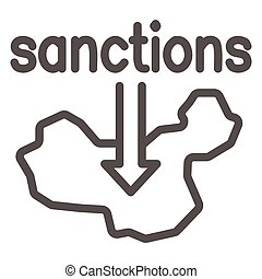 Country map and arrow down with text sanctions line icon, economic sanctions concept, Sanction against country sign on white background, Country with sanctions icon in outline style. Vector.