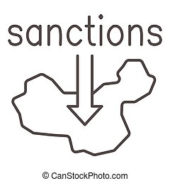 Country map and arrow down with text sanctions thin line icon, economic sanctions concept, Sanction against country sign on white background, Country with sanctions icon in outline style. Vector.