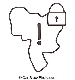 Country under lock and warning sign thin line icon, economic sanctions concept, Country lockdown sign on white background, Sanctioned country icon in outline style for mobile. Vector graphics.