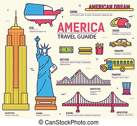 Country USA travel vacation guide of goods, places and features. Set of architecture, foods, sport, items, nature background. Infographics template design for web and mobile. On thin lines