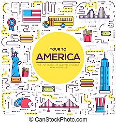 Country USA travel vacation guide of goods, places and features. Set of architecture, foods, sport, items, nature background concept. Infographics template design for web and mobile. On thin lines