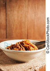 Countryside noodle in a old bowl in still life tone