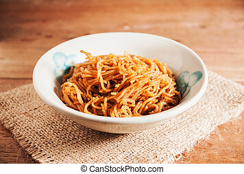 Countryside noodle in old bowl still life tone