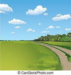 Countryside Road, Rural Scene, editable vector illustration
