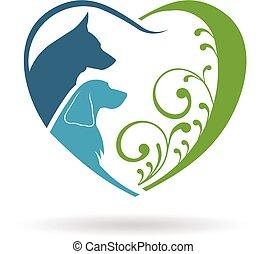 Couple Dogs love heart. Vector graphic design