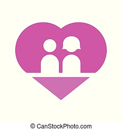 Couple In Love Heart Vector Illustration Graphic
