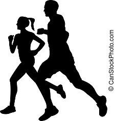 Couple jogging running exercising silhouette
