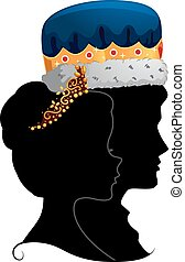 Profile Illustration Featuring the Silhouettes of a King and Queen