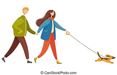 Couple Walk Pet Together in Autumn, Dog on Leash