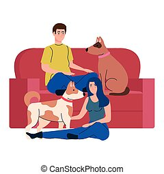 couple with cute dogs pets and couch, in white background