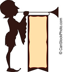 Silhouette illustration of a trumpeter with blank flag for customized announcements.