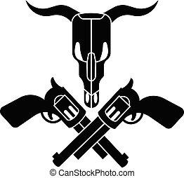 Cow skull cross revolver icon, simple style
