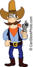 Cartoon cowboy holding his gun