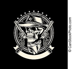 fully editable vector illustration (editable EPS) of cowboy skull with handguns on black background, image suitable for emblem, insignia, badge, crest, tattoo or t-shirt design